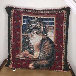 Vintage Christmas Holiday Kitten Tapestry Pillow